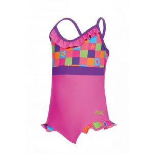 Zoggs Girls Starcheck Frill V Neck Swimsuit